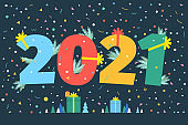 New Year party card. Numbers 2021. Flat design