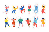 Dancing people funny cartoon style. Men and women in free movement poses. Flat design.