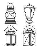 Line art black and white vintage lanterns set