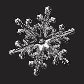 Real snowflake isolated on black background