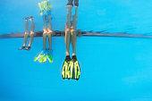 Swimmers legs in fins