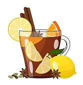 Winter hot lemon tea with fruits and spices in glass cup. Vector illustration on white background