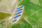 Aerial view of solar panel in the country side