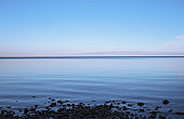 Calming seascape, Blue sea, sky at sunset or sunrise. Summer sea scenic landscape with copy space