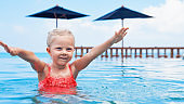 Happy active child have fun in infinity swimming pool