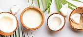 Coconut and bowl of coconut milk on gray background. Healthy food and drink. Panoramic banner with copy space