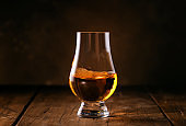 Scotch Whiskey without ice in glasses, rustic wood background, copy space