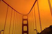 Golden Gate Bridge smoky sky