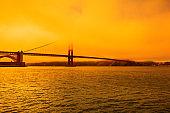Wildfires sky in Golden Gate bridge