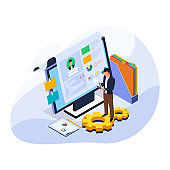 Businessman check candidate resume and information data at computer for recruiting worker. Male with computer technology. Isometric hiring and recruitment illustration concept. Vector