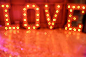 St. Valentines day background. Blurred word Love for valentine's day. Love and date concept.