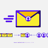 Email Marketing Concept Flat Design Rounded Illustration