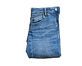 Jeans isolated on white, denim pants isolated, folded blue jeans isolated on white, summer clothes, cloth element mock up