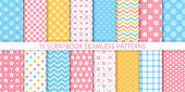 Scrapbook seamless pattern. Vector illustration. Geometric pastel prints.