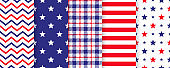 4th July  seamless pattern. Vector illustration.  American patriotic blue, red prints.