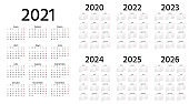 Spanish Calendar 2021, 2022, 2023, 2024, 2025, 2026, 2020 years. Vector illustration. Simple template.
