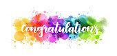 Congratulation - lettering on watercolor splash