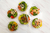 Japanese food seen from above, poke bowls