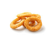 Tasty onion rings on white background