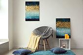 Cozy armchair in modern interior of room