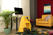 Interior of room with comfortable fashion designer workplace