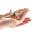 Female hands holding Aladdin lamp of wishes on white background