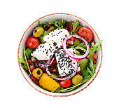 Bowl with healthy salad on white background