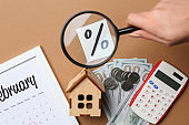 Female hand with magnifier, calendar, money, calculator and percentage sign on color background. Mortgage concept