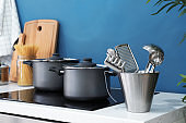 Different utensils in modern kitchen