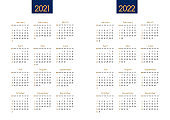Calendar New year 2021 and 2022 vector planner template with modern simple navy blue and gold clean design.Holiday event adenda, Week Starts Sunday.12 month layout annual calender.timetable for diary