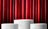 Product display glossy white marble cylinder stand winner podium in three step with red curtain wall background.Banner mockup space for display of product design