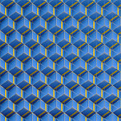Blue cubes geometric pattern with yellow lines and gold wire. 3d rendering