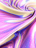 Multi colored iridescent wavy fabric with polka dot glitter pattern 3d rendering
