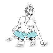 A woman is writing a report, she has no idea what to do.Doodle art concept,illustration painting