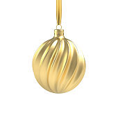Realistic Gold Christmas tree toy in the form of a spiral.