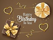 Birthday elegant vector background design. Happy birthday text with golden gifts, confetti, and heart party elements and brown empty space for invitation card messages.