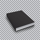 3d Blank book template with black cover on transparent background, perspective top view. Realistic Mock Up of books, Isolated vector