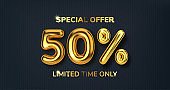 50 off discount promotion sale made of realistic 3d gold balloons. Number in the form of golden balloons. Template for products, advertizing, web banners, leaflets, certificates and postcards. Vector illustration