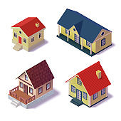 Set isometric country house. The poster for sale the real estate, construction and leased concept and billboard.  Vector Illustration