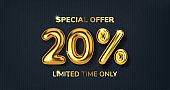20 off discount promotion sale made of realistic 3d gold balloons. Number in the form of golden balloons. Template for products, advertizing, web banners, leaflets, certificates and postcards. Vector illustration