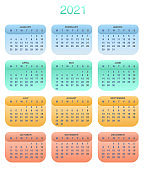 Design calendar 2021 year in trendy colorful style. Stationery planner template. Vector illustration. Week starts on Monday. Set of 12 months.