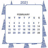 Design calendar 2021 year in trendy ornamental style. Stationery planner template. Vector illustration. Week starts on Monday. Set of 12 months. Made in blue and white colors