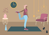 Fit woman make exercise at home in sportswear. Active and healthy lifestyle concept. Sports competition indoor workout athletic. Flat vector illustration in room with furniture. Trendy simple interior