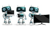 Robot characters vector set. Robotic character with modern devices like smartphone, television and laptop in holding and showing pose and gestures for technology device and robot design.