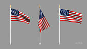 Realistic American Flag. Waving flag of the USA. 3D advertising textile vector flags. Template for products, advertizing, web banners, leaflets, certificates and postcards. Vector illustration