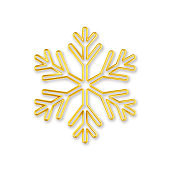 3D Realistic golden snowflake with on white background.