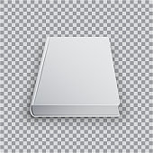 3d Blank book template with white cover on transparent background, perspective top view. Realistic Mock Up of books, Isolated vector