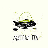 Matcha tea. Vector doodle illustration of teapot and cuos. Japanese tea ceremony