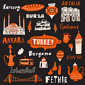 Funny hand drawn vector illustration of different Turkish attractions, cultural symbols and name of cities.