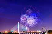Beautiful colorful firework display for celebration happy new year and merry christmas in the night sky, bangkok city, thailand